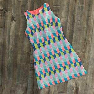 Milly neon tweed geometric print shift dress
